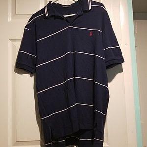 Navy Blue Striped Ralph Lauren Polo Shirt